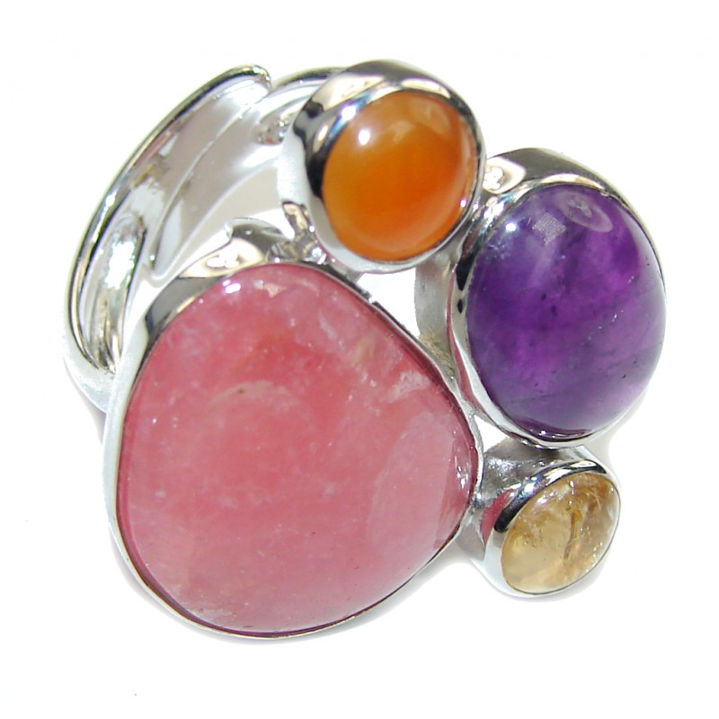 Sweet Pink Rhodochrosite Sterling Silver Ring s. 6 3/4 adjustable