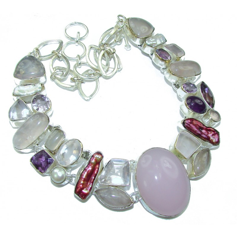 Magicol Night! Light Pink Rose Quartz Sterling Silver Necklace