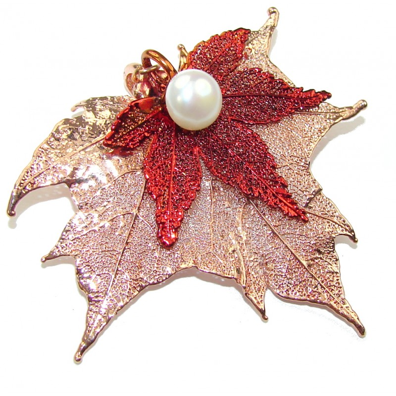 Stylish Deeped In Copper Leaf & Fresh Water Pearl Sterling Silver Pendant