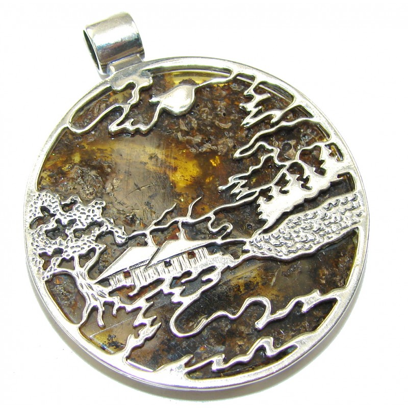 Chinese Village! Baltic Polish Amber Sterling Silver Pendant
