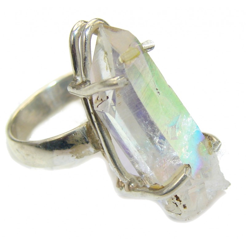 Fashion Crystal Druzy Sterling Silver Ring s. 6 1/4
