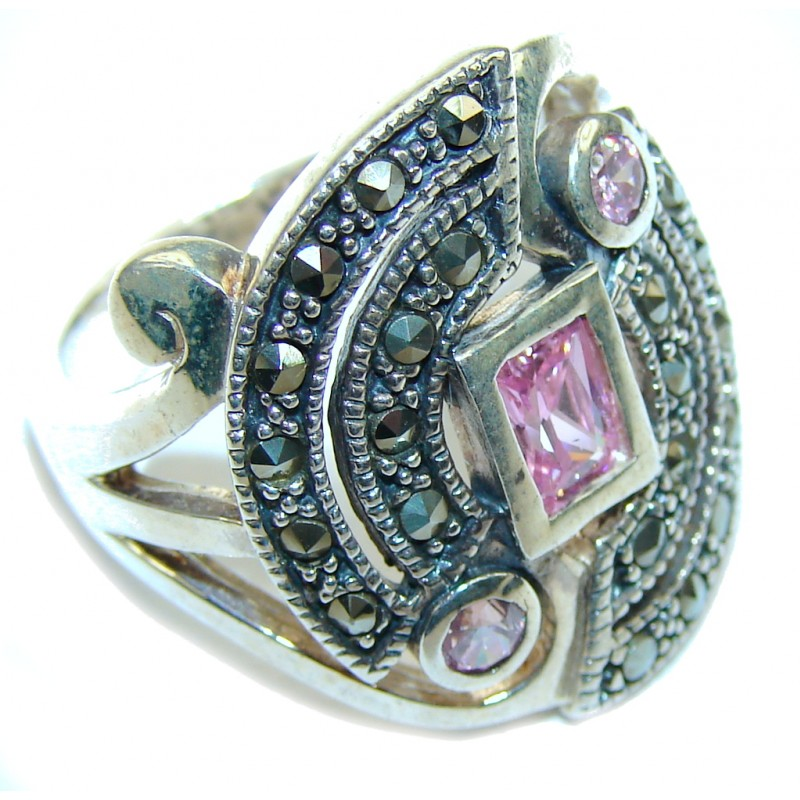 Passion Pink Topaz Quartz & Marcasite Sterling Silver ring s. 7 1/2