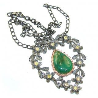 Stunning! Green Chrysophrase, Rose Gold PLated, Rhodium Plated Sterling Silver necklace