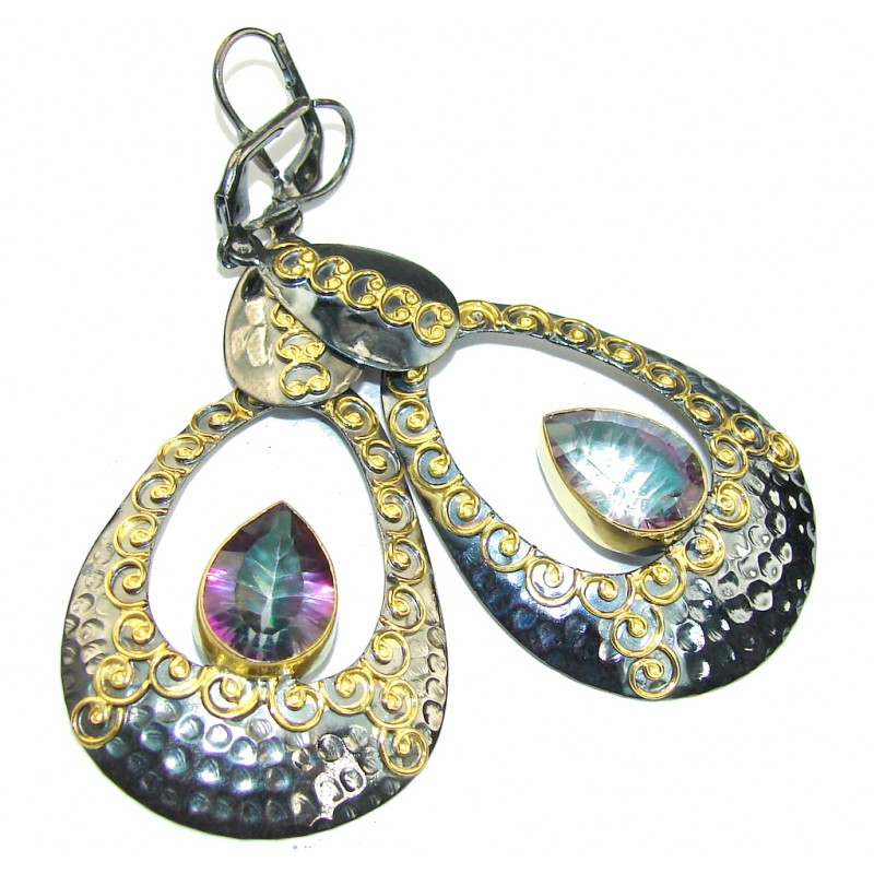 Beautiful! Magic Topaz, Gold Plated, Rhodium Plated Sterling Silver earrings / Long