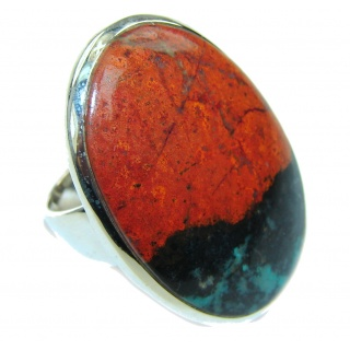 Natural! AAA Red Sonora Jasper Sterling Silver Ring s. 8 1/2