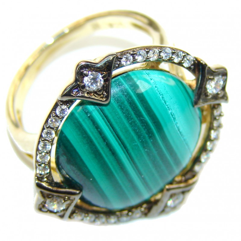 Perfect AAA Green Malachite & White Topaz, Gold PLated Sterling Silver ring s. 7 1/4