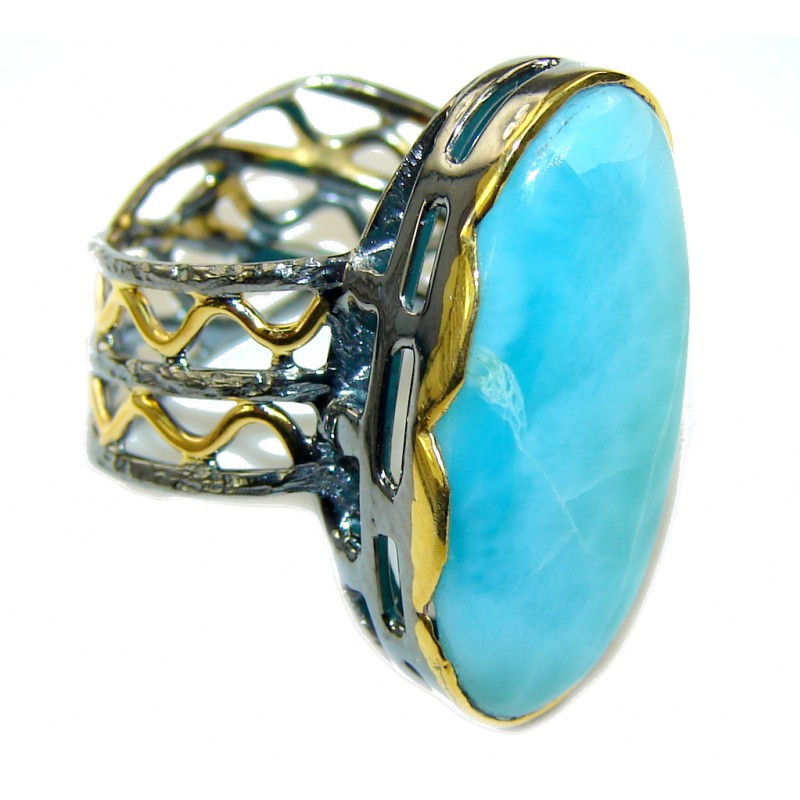 Natural AAA Blue Larimar, Gold Plated, Rhodium Plated Sterling Silver Ring s. 7 1/4