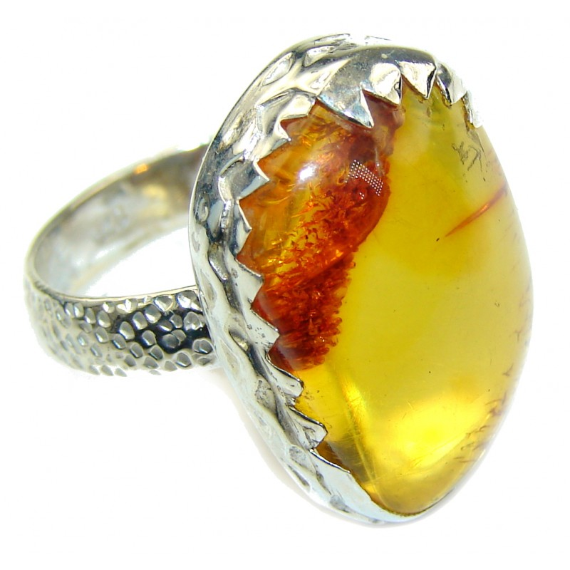Natural AAA Baltic Polish Amber Sterling Silver Ring s. 9