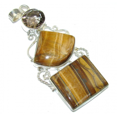 Big! Beauty Vision! AAA Golden Tigers Eye Sterling Silver Pendant