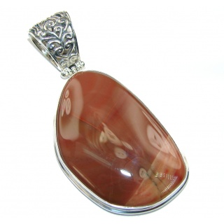 Elite AAA Brown Imperial Jasper Sterling Silver Pendant