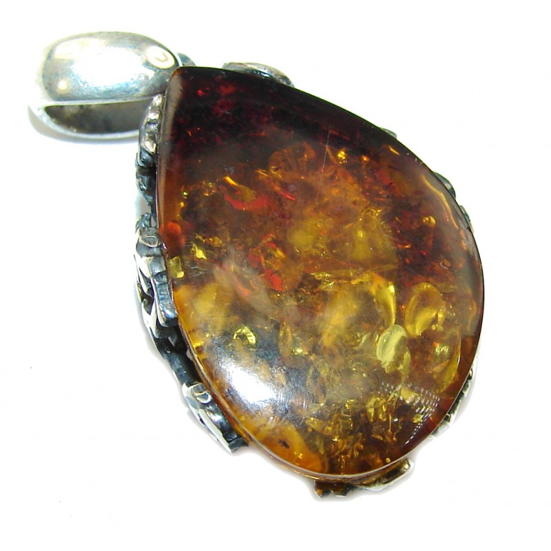 Petite AAA Baltic Polish Amber Sterling Silver Pendant