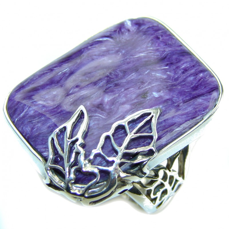 Beautiful AAA Purple Charoite Sterling Silver Ring s. 7- adjustable