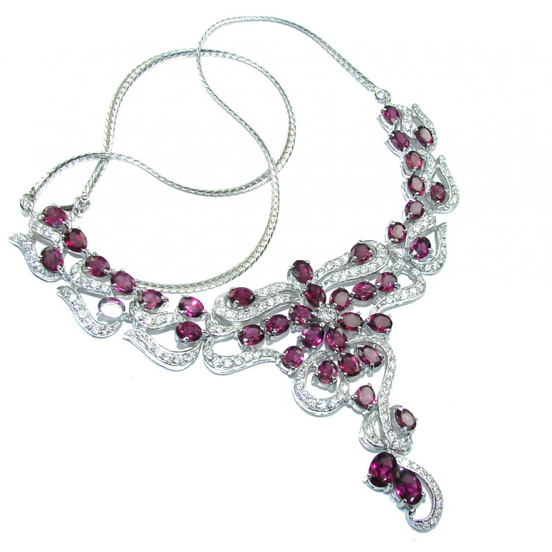 Luxury AAA Raspberry Garnet & White Topaz Sterling Silver necklace