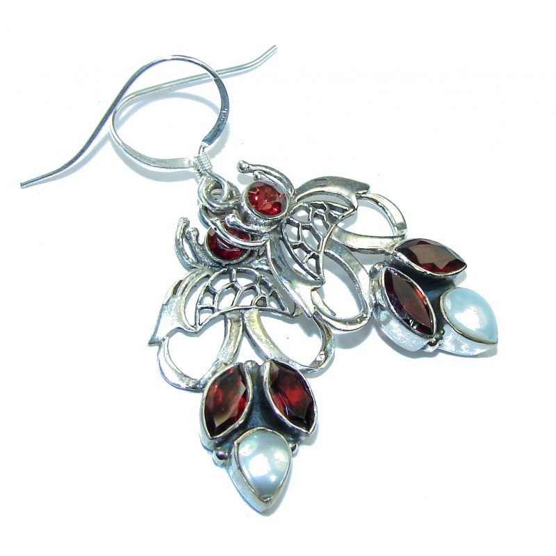 Lovely Red Garnet & Blister Pearl Sterling Silver earrings