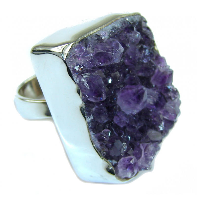 Big! Classic Beauty! Amethyst Cluster Sterling Silver Ring s. 6