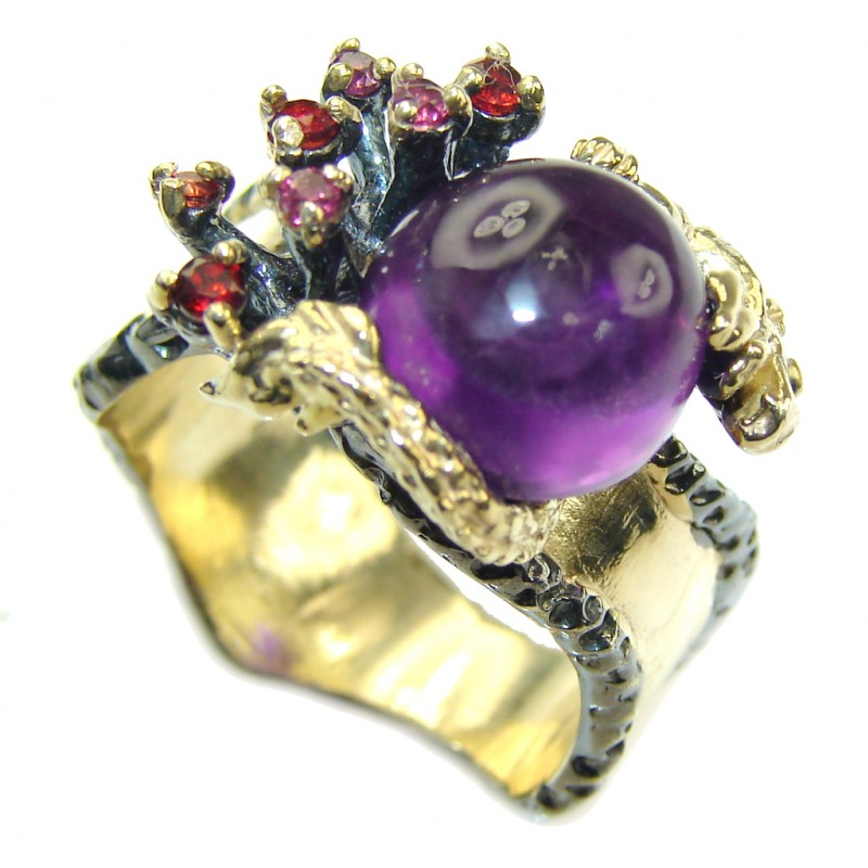Lavender Garden Amethyst, Gold Plated, Rhodium Plated Sterling Silver Ring s. 7 1/4