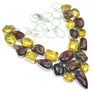 Super Chunky Pietersite & Golden Quartz Sterling Silver necklace
