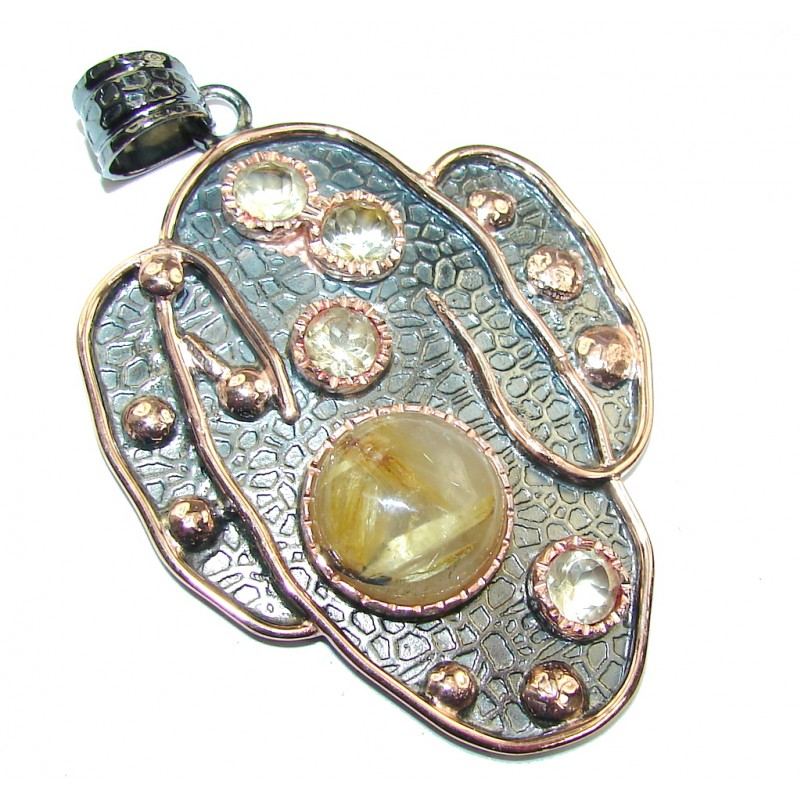 Big! Modern Conept Golden Rutilated Quartz, Rose Gold Plated, Rhodium Plated Sterling Silver Pendant