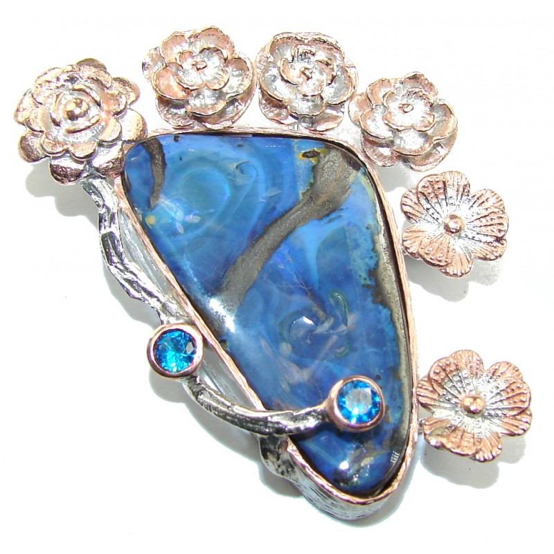 Big! Top Quality AAA+ Australian Boulder Opal, Two Tones Sterling Silver Pendant