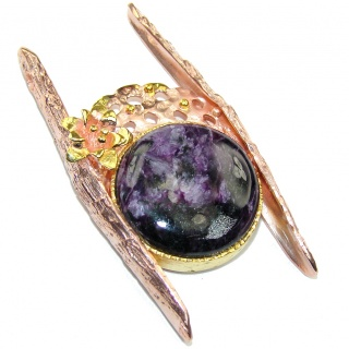 Gorgeous AAA Purple Siberian Charoite,Rose & Gold Plated Sterling Silver Pendant