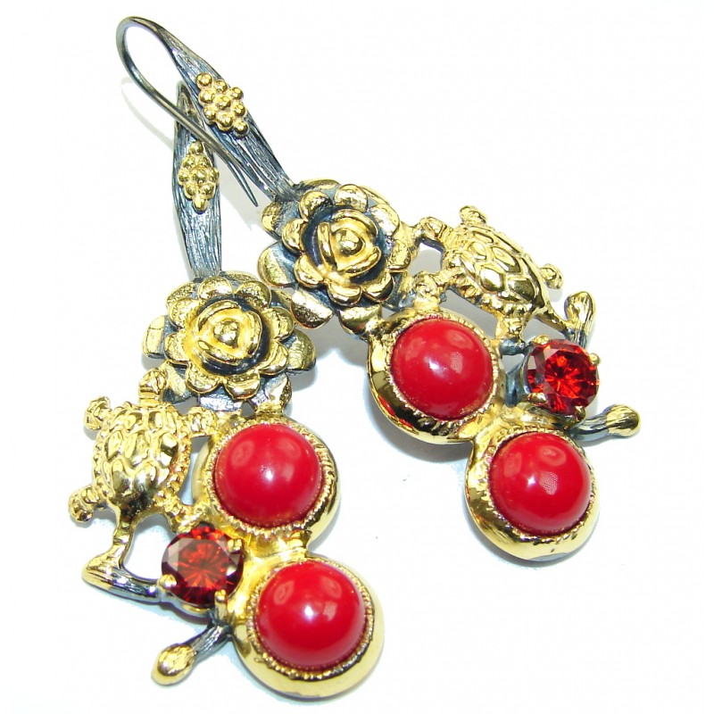 True Love AAA Red Coral & Garnet, Gold PLated, Rhodium Plated Sterling Silver earrings