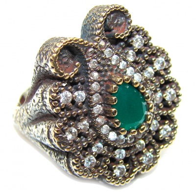 Victorian Style! Emerald & White Topaz Sterling Silver Ring s. 7