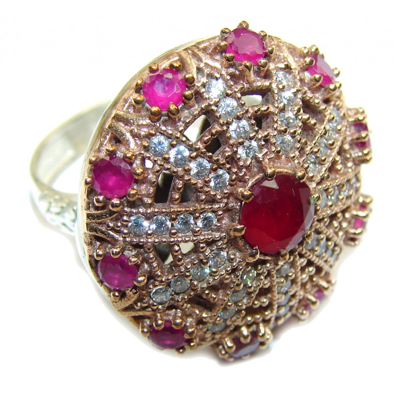 Victorian Style! Ruby & White Topaz Sterling Silver Ring s. 8