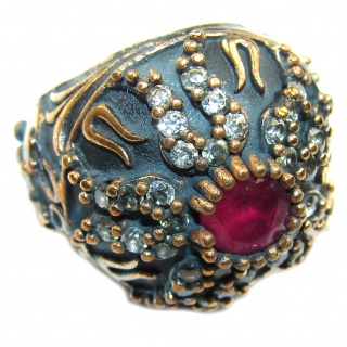 Victorian Style! Pink Ruby & White Topaz Sterling Silver Ring s. 6