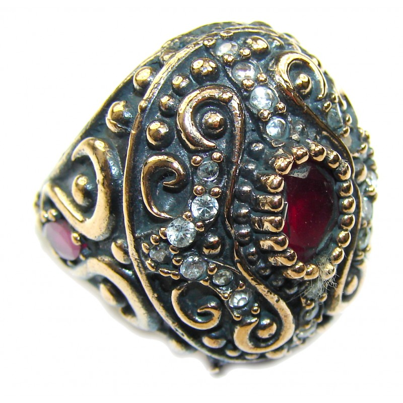 Victorian Style! Red Ruby & White Topaz Sterling Silver Ring s. 6 1/4
