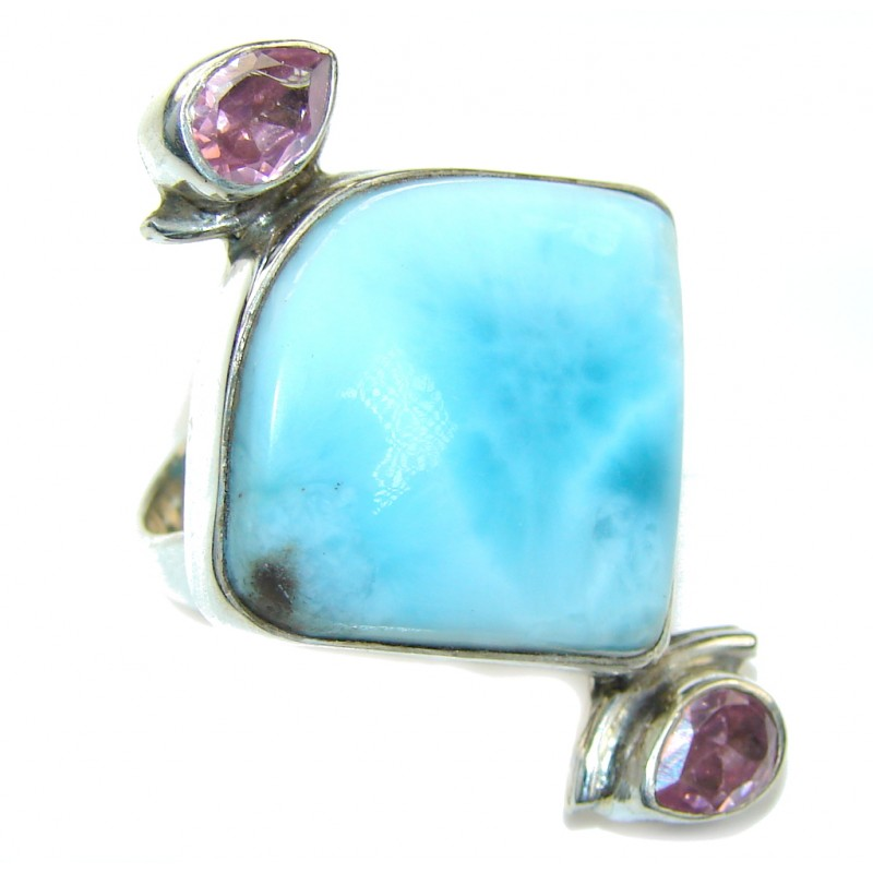Amazing Blue Larimar Sterling Silver Ring s. 7 1/4