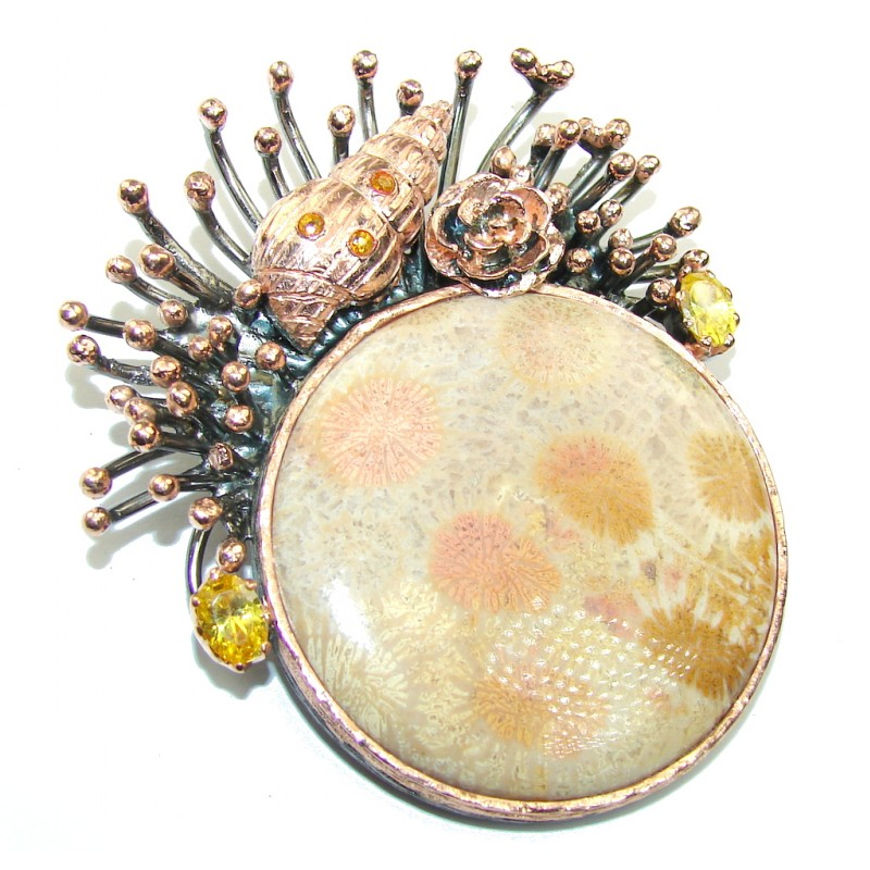 Large! Coral Reef Fossilized Coral, Rose Gold Plated, Rhodium Plated Sterling Silver pendant