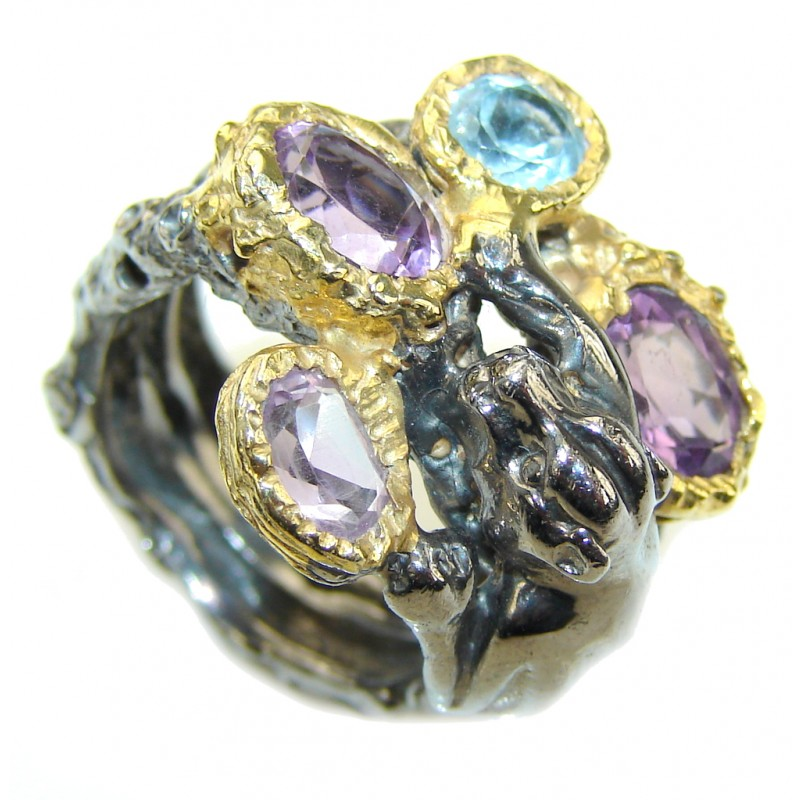 Wild Chita Purple Amethyst & Swiss Blue Topaz, Gold PLated, Rhodium PLated Sterling Silver Ring s. 5 1/4