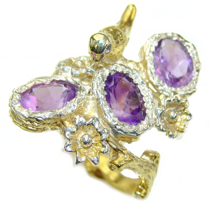 Purple Eden Amethyst, Gold PLated Sterling Silver Ring s. 7 1/2
