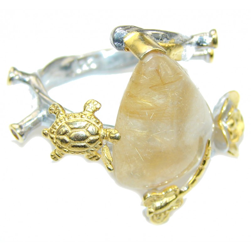 Golden Island! Golden Rutilated Quartz, Gold Plated Sterling Silver Ring s. 6 1/4