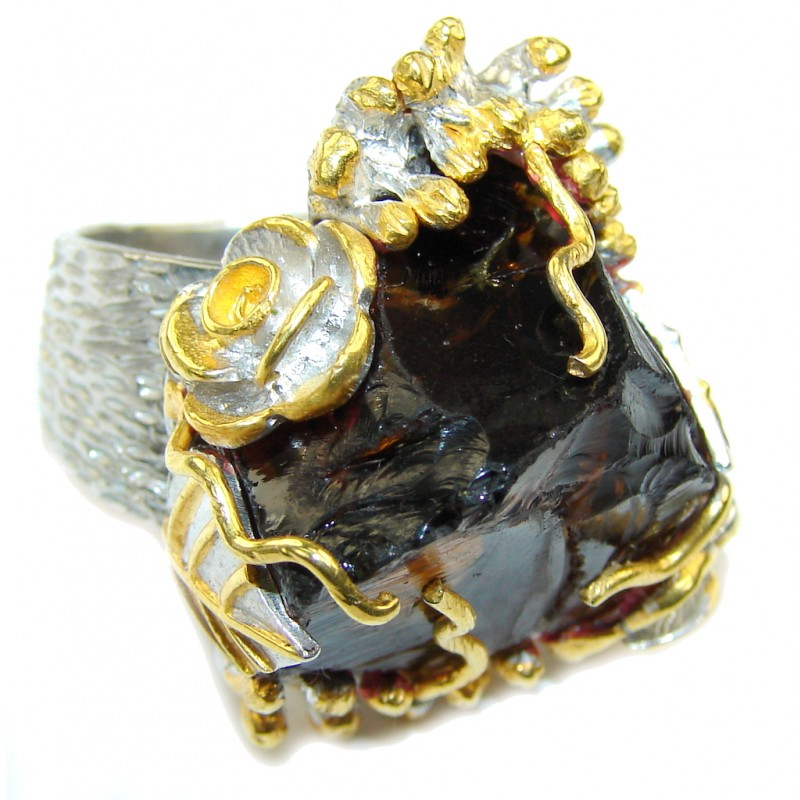 Huge! Rough Smoky Topaz, Two Tones Sterling Silver ring s. 6 1/4