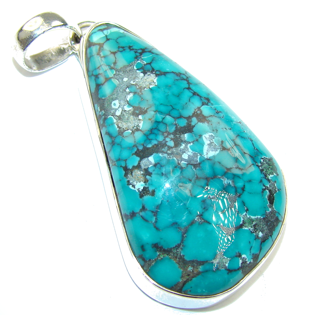 Black Spider Web Blue Turquoise Sterling Silver Pendant