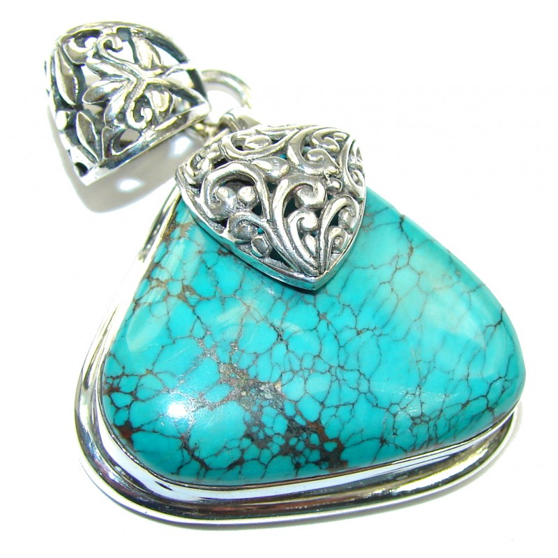 Bali Style Blue Turquoise Sterling Silver Pendant
