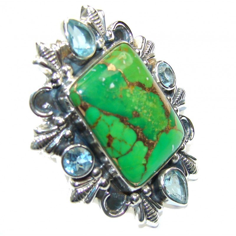 Big! Garden Green Beauty Turquoise Sterling Silver Ring s. 7