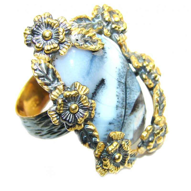 Secret AAA Dendritic Agate, Gold Plated, Rhodium Plated Sterling Silver Ring s. 8
