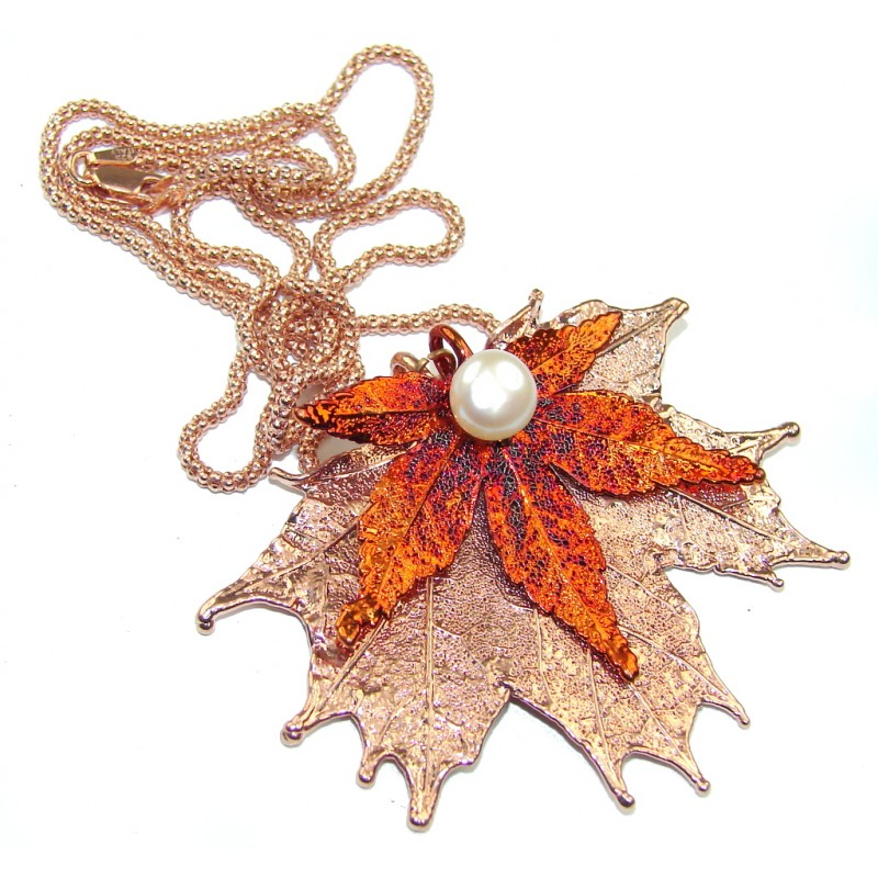 Stylish Leaf Deep In Copper & Fresh Water Pearl, Rose Gold Plated Sterling Silver necklace