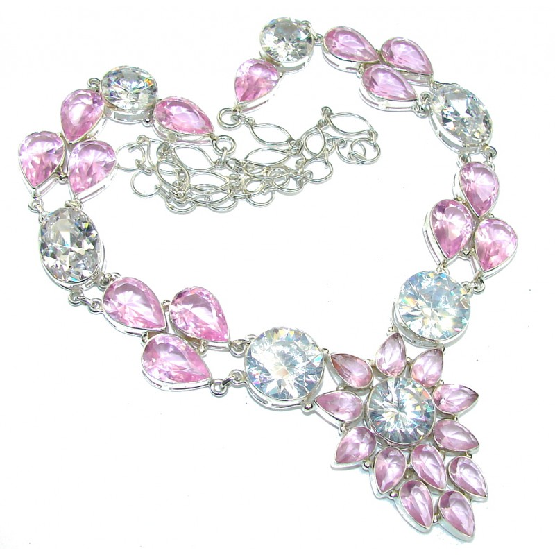 Princess Beauty AAA White Topaz & Pink Topaz Sterling Silver necklace / 22 inch Long