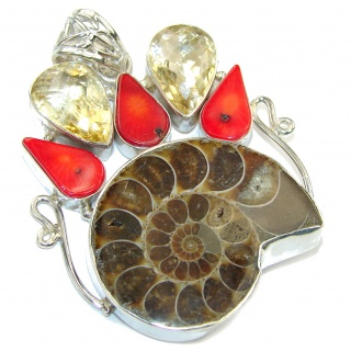 Big! Fashion Brown Ammonite Fossil Sterling Silver Pendant