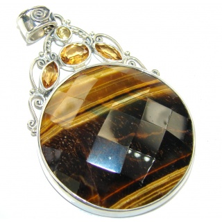 Love Declared Brown Tigers Eye Sterling Silver Pendant
