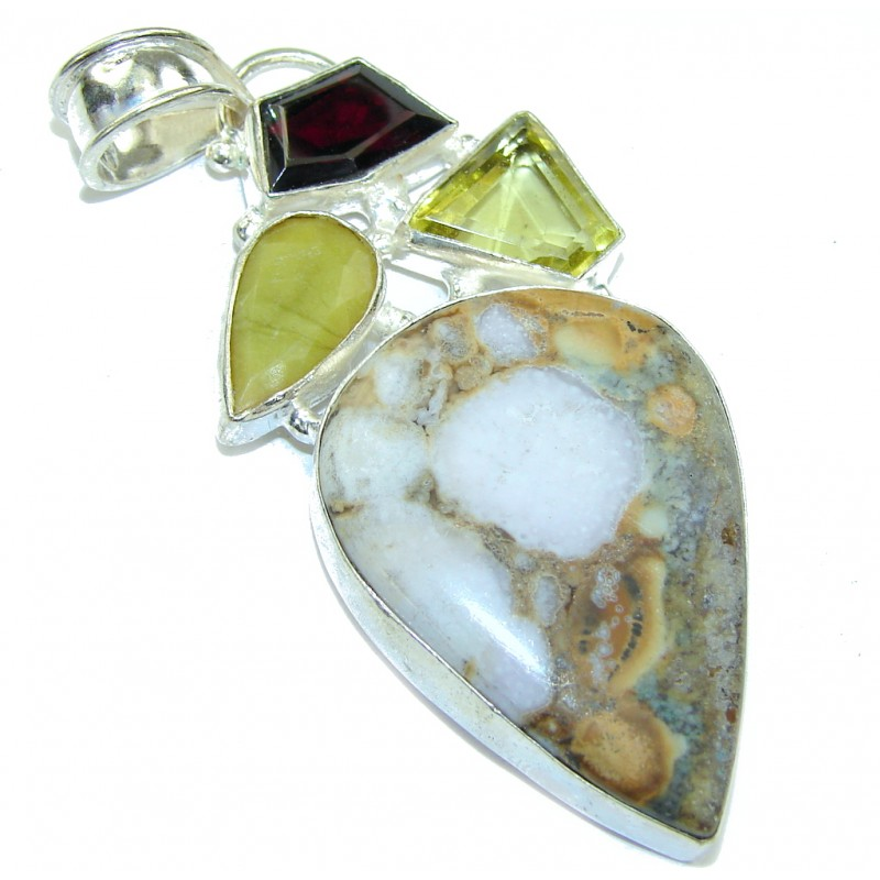 Big! Excellent Montana Agate Sterling Silver Pendant