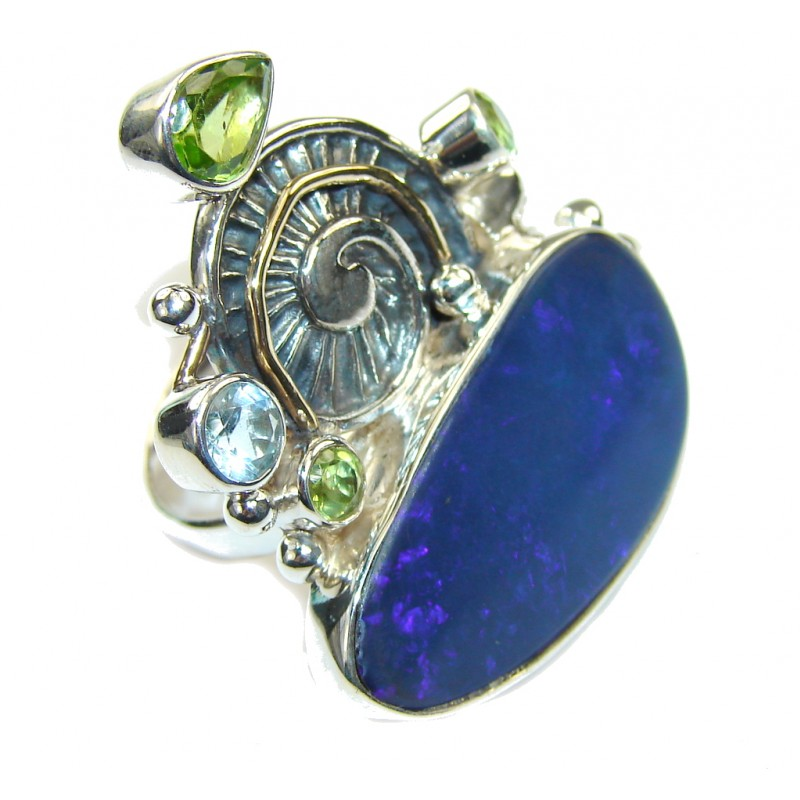 Huge! Secret Beauty Japanese Blue Fire Opal Sterling Silver ring s. 9