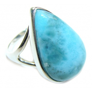 Secret Beauty AAA Blue Larimar Sterling Silver Ring s. 8 1/2