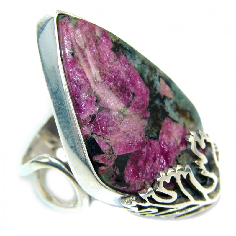Natural AAA Russian Eudialyte Sterling Silver Ring s. 5 adjustable