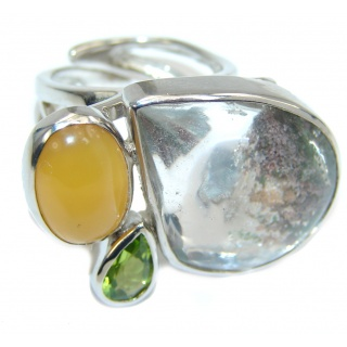 Uncommon Clrear Sandstone Sterling Silver ring s. 7 adjustable