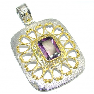 Purple Alexandrite Quartz Two Tones Sterling Silver Pendant