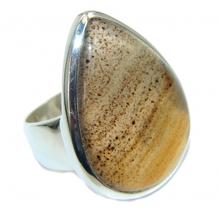 Simplicity Scentic Agate Sterling Silver Ring s. 8 1/4